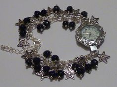 Charm bracelet watch with black crystals and Tibetan silver stars