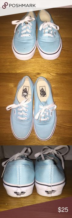 NWOT light blue vans Never worn and brand new. *Always willing to negotiate the price or trade for something I like. Prices are low because I'm trying to sell all my clothes before I go back to school in a month! Make me an offer:) Vans Shoes