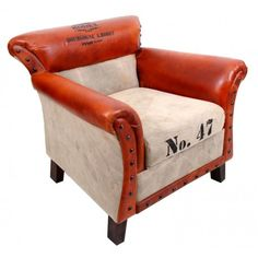 Sillón estilo industrial modelo N° 47, tapizado en en piel con textil:      Ancho: 70 cm     Largo: 70 cm     Alto: 82 cm     Color: Marrón y Beige