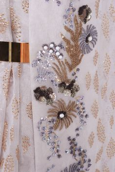 Gold Floral Embroidery With Sequins Scarf CREAM