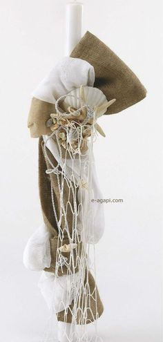 Burlap Beach Greek baptism candle Burlap marine Baby boy christening Orthodox baptism ceremony candle Handmade rustic girl Lampada Lampatha by eAGAPIcom on Etsy