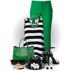 Green w/ black & white! Love this outfit. Casual Work Outfits, Mode Outfits, Work Casual, Classy Outfits, Chic Outfits, Casual Chic, Spring Outfits, Fashion Outfits, Girly Outfits