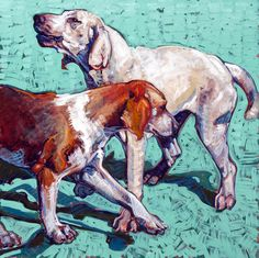 """'Crossing Hounds' a 30""""x30"""" oil on linen by Leslie Shiels, Private Collection"""