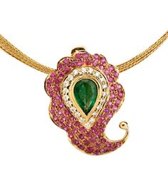 Thalir Ruby Emerald and Diamond Paisley Pendant - Jewellery / All Jewellery - Parisera Emerald Pendant, Diamond Pendant, Gold Pendant, Pendant Jewelry, Pendant Necklace, Sapphire And Diamond Earrings, Diamond Jewelry, Pear Shaped Diamond, Indian Jewelry