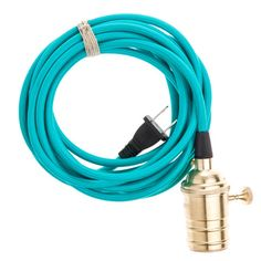 Pendant Light Cord with Brass Socket - Turquoise