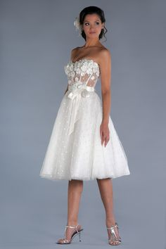 Comelly Short White Wedding Dresses : Dazzling Short White Wedding Dresses