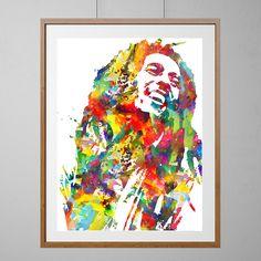 Bob Marley watercolor Print