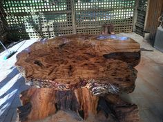 Silver top burl and Tree root base table
