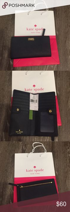 """NWT Kate spade Stacy navy wallet Brand new never used Kate spade Stacy wallet in """"offshore"""" (navy blue) tons of card slots, leather. kate spade Bags Wallets"""