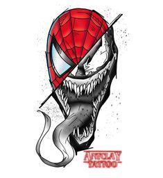 Spiderman Tattoo, Marvel Tattoos, Spiderman Art, Marvel Drawings, Art Drawings Sketches, Cool Drawings, Twins Tattoo, Tatoo Naruto, Venom Tattoo