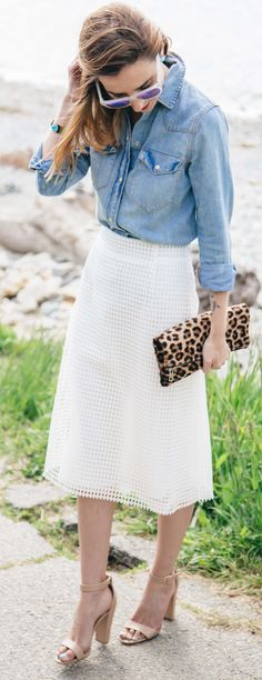 Denim And White Casual Style                                                                             Source
