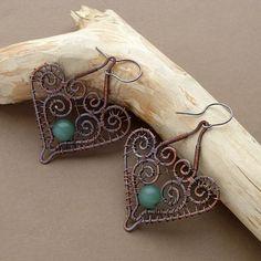 Wire Jewelry Earrings, Wire Wrapped Earrings, Beaded Earrings, Beaded Jewelry, Jewellery, Handmade Wire Jewelry, Etsy Jewelry, Jewelry Crafts, Beads And Wire