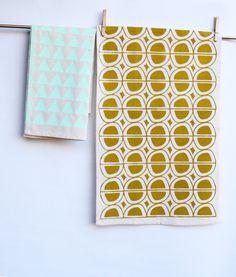 Avocado - hand printed mid-century inspired decorative kitchen towel