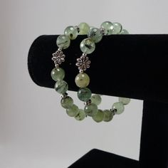 Prehnite Bracelet/ green/ Prehnite/ faceted/ gemstone/ flower/