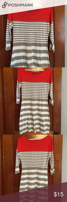Express Tee Knit Dress Cute and Comfortable dress by Express. Features orange yoke and alternating tan/cream stripes. 3/4 length sleeves. One small flaw in back close to the side bottom as noted in picture 4. Size S. Express Dresses Midi
