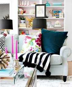 Eclectic Home Tour of Hi Sugarplum - this color and DIY filled home will inspire http://eclecticallyvintage.com