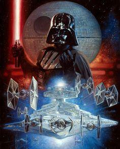 Star Wars Darth Vader Painting by Comic Artist(s) Leo Leibelman - W. Star Wars Fan Art, Star Trek, Nave Star Wars, Darth Vader Star Wars, Anakin Vader, Anakin Skywalker, Star Wars Pictures, Star Wars Images, Anniversaire Star Wars
