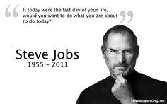 """La bonne question : """"si aujourd'hui était le dernier jour de votre vie, voudriez-vous faire ce que vous êtes en train de faire aujourd'hui ?"""" (citation de #SteveJobs)"""