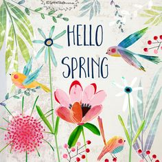 Hello Spring by Kate Mason First Day Of Spring, Happy Spring, Spring Break, Spring Time, Spring Quotes, Spring Has Sprung, Surface Pattern Design, Graphic, Print Patterns