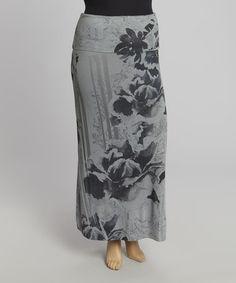 Look at this #zulilyfind! Light Gray & Black Floral Maxi Skirt - Plus #zulilyfinds