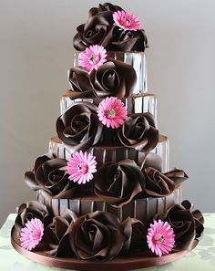 Chocolate Made Flower Wedding Cake Design