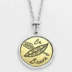 Be Brave Arrow Leaf Disc Pendant Necklace