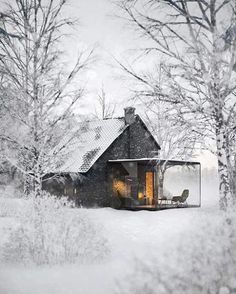 The Winter House from 1900 By: NU Design - Architecture and Home Decor - Bedroom - Bathroom - Kitchen And Living Room Interior Design Decorating Ideas - Ideas De Cabina, Beautiful Homes, Beautiful Places, Glass Extension, Cabins And Cottages, Tiny Cabins, Earthship, Cabins In The Woods, Interior Architecture