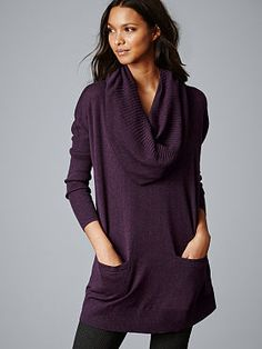 Oversized cashmere tunic is ideal for a casual weekend date or football game! Comfortable and classic style. Available at Victoria's Secret.  #womens #fashion #fall2014