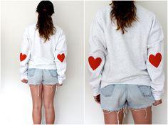 Elbow Heart Sweatshirt - original red. $34.00, via Etsy. I WANT THIS SOOOOO BAD!!!