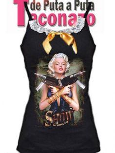 camiseta con encaje en el escote serigrafiada con una Marilyn Monroe, armada, Lazo de satén mostaza como adorno.
