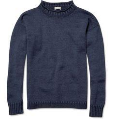 Margaret HowellLinen-Blend Guernsey Sweater|MR PORTER gansey sweater