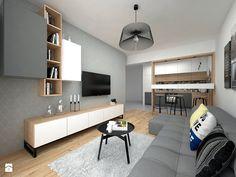 Mieszkanie - 40 m2 - Mały salon z bibiloteczką z kuchnią z jadalnią, styl skandynawski - zdjęcie od BIG IDEA studio projektowe
