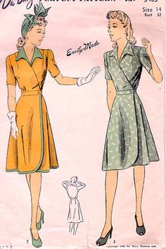 Dubarry 5405 -- misses' wrap-wrpund dress -- 1942 40s dress pattern wrap style short sleeves green floral print gold yellow pattern illustration vintage fashion
