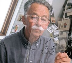 Dick Bruna - Writer and illustrator of Miffy / Nijntje Rabbit Drawing, Dutch Women, Hometown Heroes, Miffy, Dutch Artists, Animated Cartoons, Utrecht, Artist Art, Childrens Books