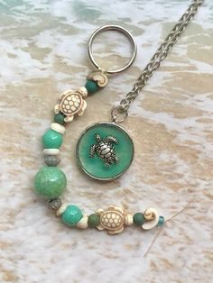 Excited to share this item from my shop: SET! Boho Beach Necklace & Keychain SET/Sea Turtle Necklace-Keychain/Coastal Necklace-Keychain/Gift for Her/Beach Jewelry/One-of-a-Kind Sea Turtle Decor, Other Accessories, Jewelry Accessories, Turtle Necklace, Beaded Necklace, Beaded Bracelets, Beach Jewelry, Making Ideas, Gifts For Her