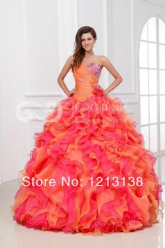 Multicolor Strapless Bead Girl Quinceanera Dress Formal Party Evening Ball Gown Custom $199.00