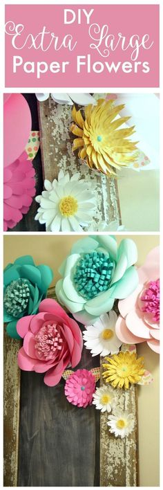 A Tutorial showing How to Make Giant Paper Flowers. A FREE Silhouette Cut file is included! These beautiful flowers can also be made without a cutting machine.