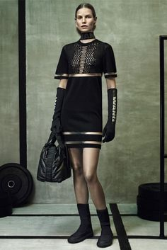 Dress with mesh detailing and striped cut outs. //  Alexander Wang for H&M