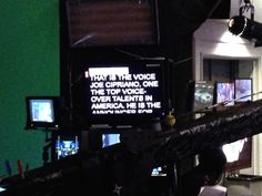 The view from the anchor desk of the teleprompter.