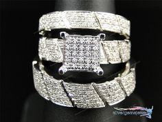 14K White Gold Men Women His Her Diamond Engagement Bridal Wedding Trio Ring Set #WeddingAnniversaryPromiseValentinesGift