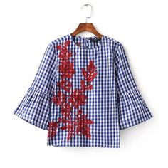 We love it and we know you also love it as well 2017 new women vintage o neck plaid print flower embroidery loose blouses fashion women butterfly sleeve roupas femininas shirts just only $10.49 with free shipping worldwide  #womanblousesshirts Plese click on picture to see our special price for you