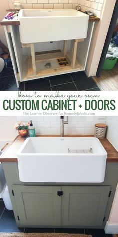 How To Make Your Own Custom Cabinet Doors For An Odd Sized Cabinet Space These doors are for laundry or dirty sink in laundry room vanity, garage sink vanity, cabinet, etc. Custom Cabinet Doors, Custom Cabinets, Making Cabinet Doors, Farmers Sink, Diy Kitchen Cabinets, Kitchen Sink, Cabinet Space, Vanity Cabinet, Laundry Room Design