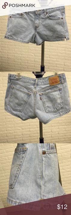 "Levi's jean shorts size 11 Levi's jean shorts size 11, light stone wash. Side slits are 1-1/4"". Inseam 2-1/2"". Waist measures about 16-1/2"" when flat. Levi's Shorts Jean Shorts"