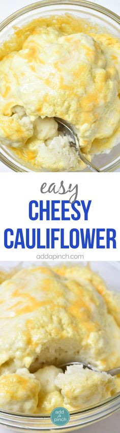 Easy Cheesy Cauliflower Recipe - This easy cauliflower recipe is perfect for weeknight suppers or Sunday dinners! It is a definite favorite the whole family loves! // addapinch.com