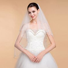 Wedding Veils Women's Elegant Tulle Rhinestone Two-tier Ribbon Edge Veils – GBP £ 25.48