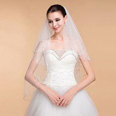 Wedding Veils Women's Elegant Tulle Rhinestone Two-tier Ribbon Edge Veils – GBP £ 25.48