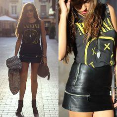 Zara Leather Skirt, Zara Jacket, Pull  Bear Tee, Ray Ban Sunnies