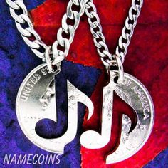 Music Jewelry Couples necklaces You Make My Heart by NameCoins, $29.99