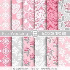 Pink Digital Paper, Wedding Digital Paper Pack, Digital Paper Pack, digital backgrounds, Cottage Papers, Damask Wedding Papers -1673