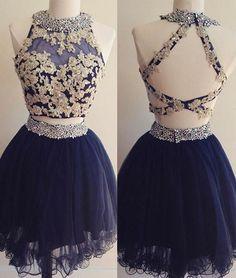 Backless Prom Dress,Two Pieces Prom Dress,Mini Prom Dress,Fashion